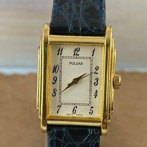 Vintage Pulsar Gold Reto 30s Sculptured Tank Watch